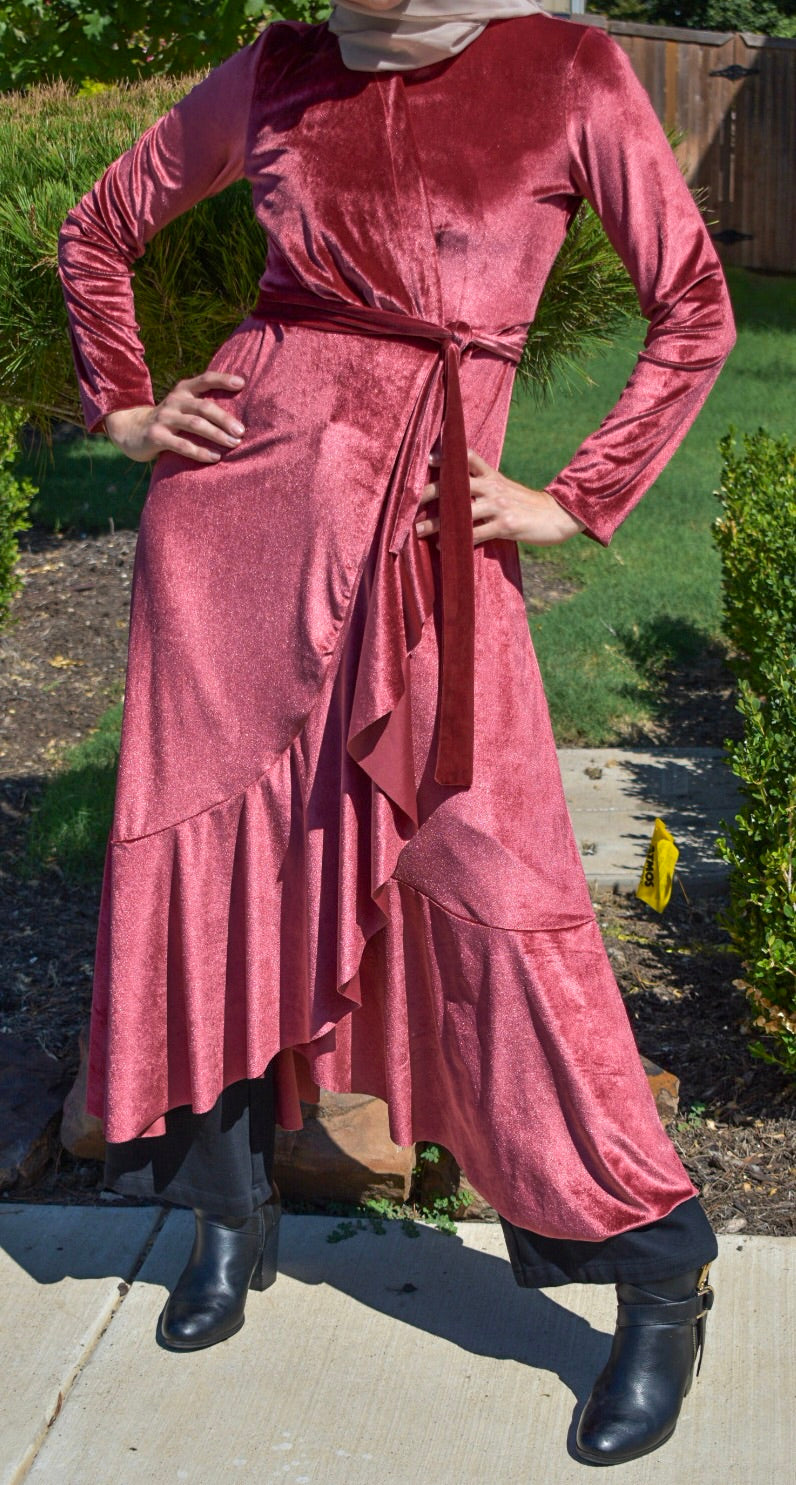 Velvet Wrap Dress - Rose