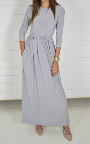 Basic Stretch Maxi Dress-Gray