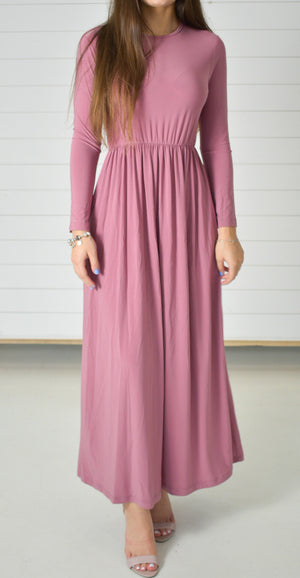 Basic Stretch Maxi Dress - Rose