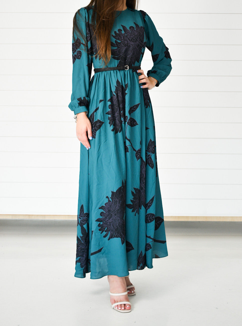 Printed Maxi Dress - Blue Floral