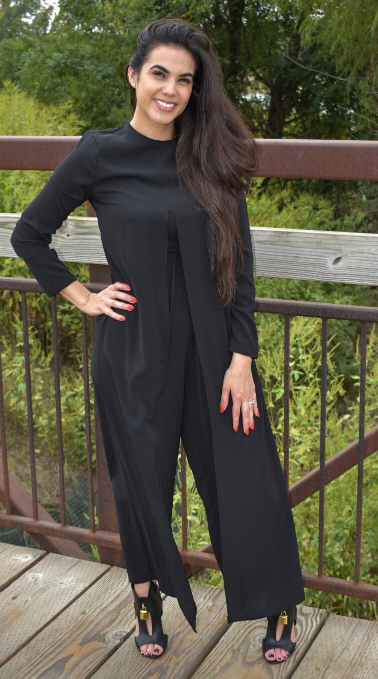 Draped Maxi Jumpsuit - Black