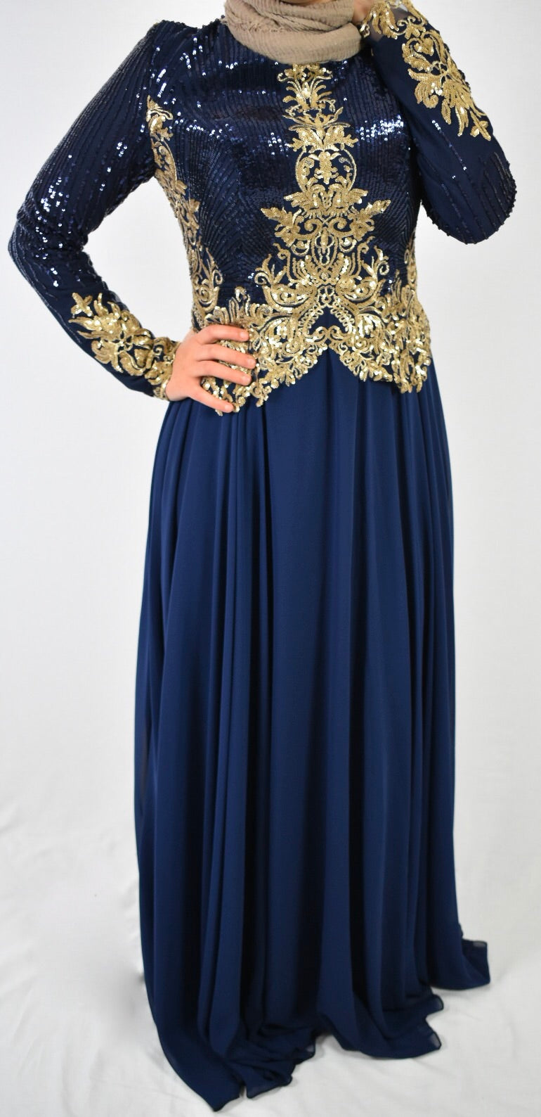 Elegant Evening Dress - Navy