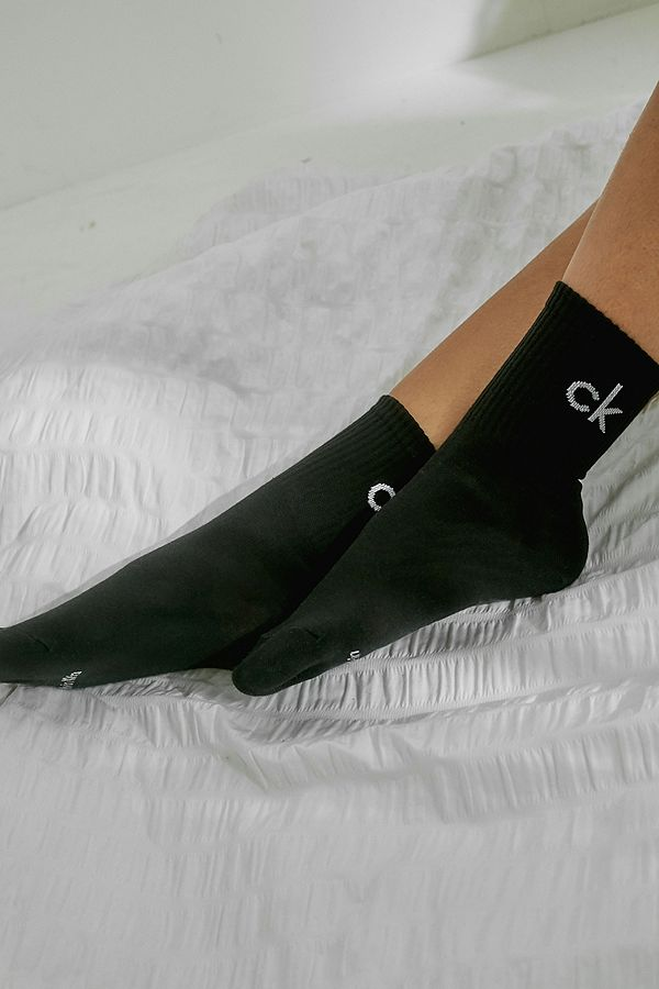 Calvin Klein Modern Cotton Logo Crew  Socks 2 Pack - Black ECB637