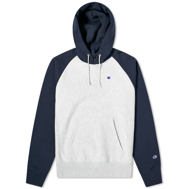 Champion Reverse Weave Hood Script Color Block Grey