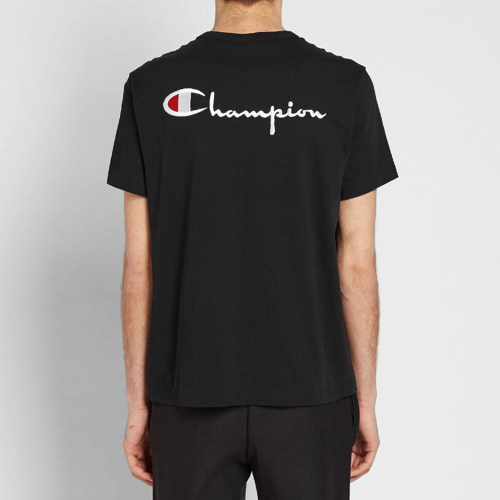 Champion Reverse Weave Rear Script Logo Tee Black