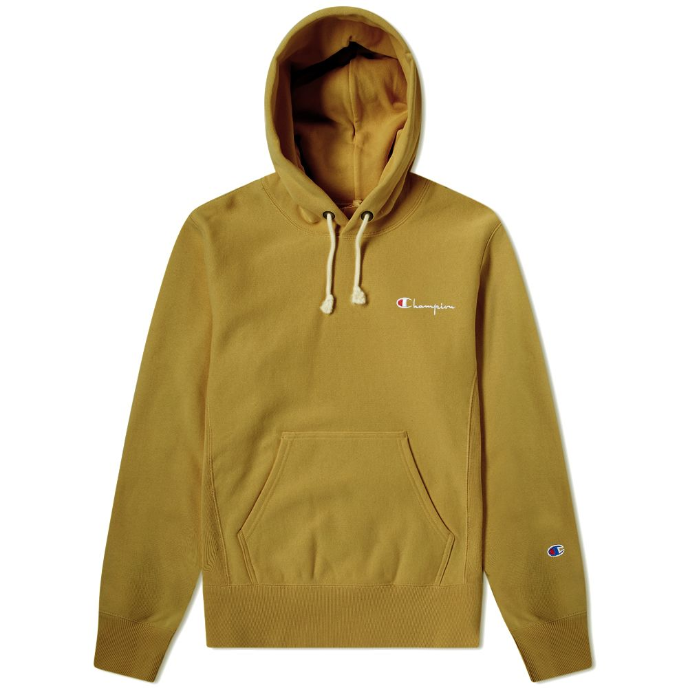 Champion Reverse Weave Small Script Logo Hoody Olive Drab