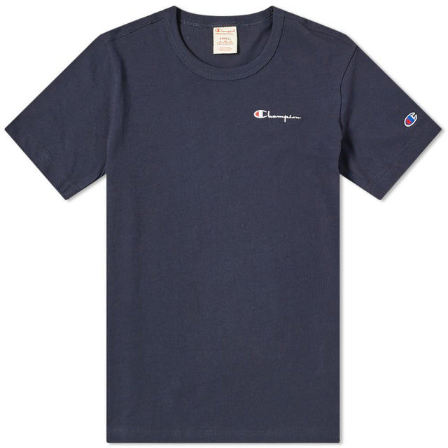 Champion Reverse Weave Small Script Logo Navy Tee
