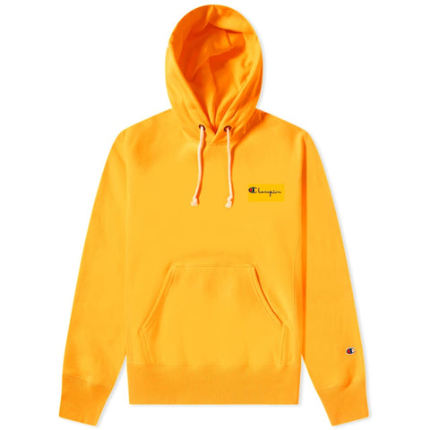 Champion Reverse Weave Small Script Logo Hoodie Fluo Orange