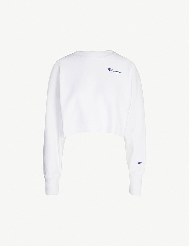 Champion Reverse Weave Cropped Crewneck White 111563