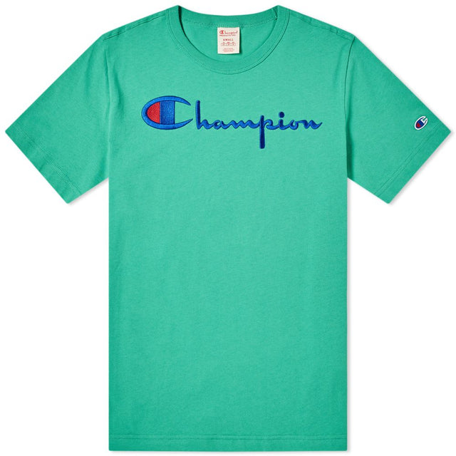 Champion Reverse Weave Script Logo Tee Kelly Green