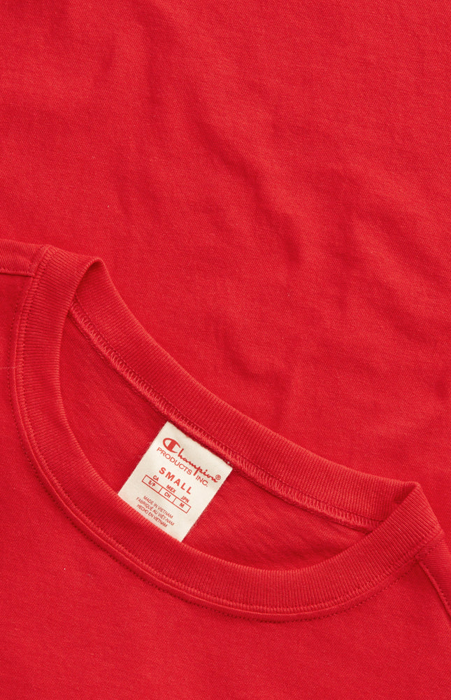 Champion Reverse Weave Script Logo Women's Crewneck Tee Red