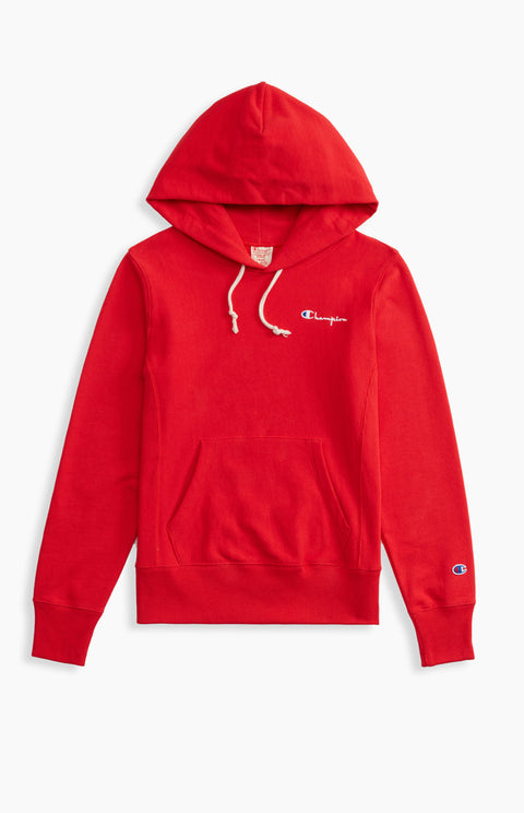 Champion Reverse Weave Small Script Logo Hoodie Red