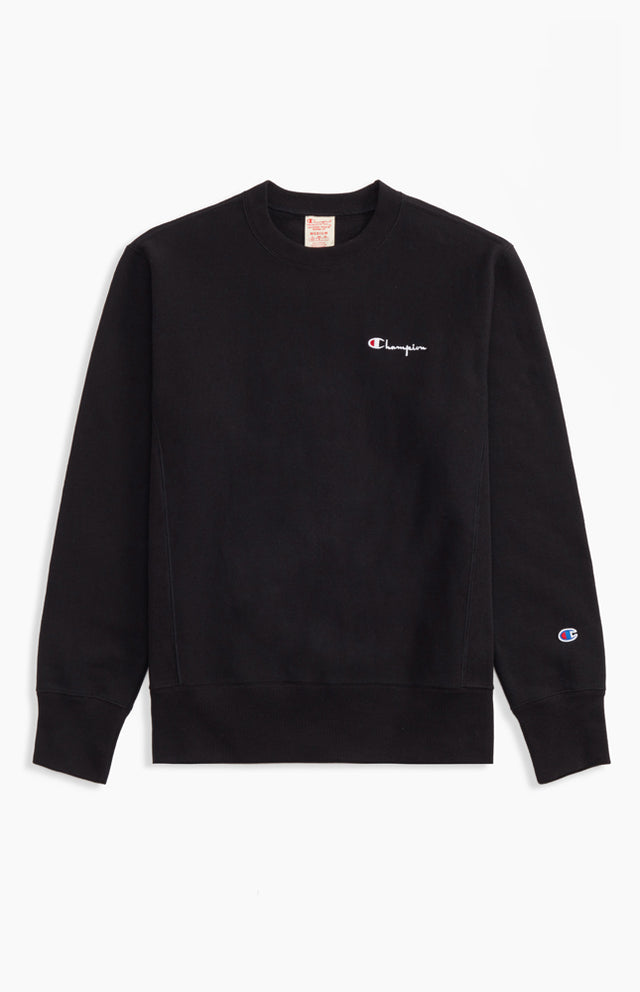 Champion Reverse Weave Rear Script Logo Crewneck Sweatshirt Black