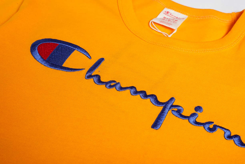 Champion Reverse Weave Script Logo Tee Orange