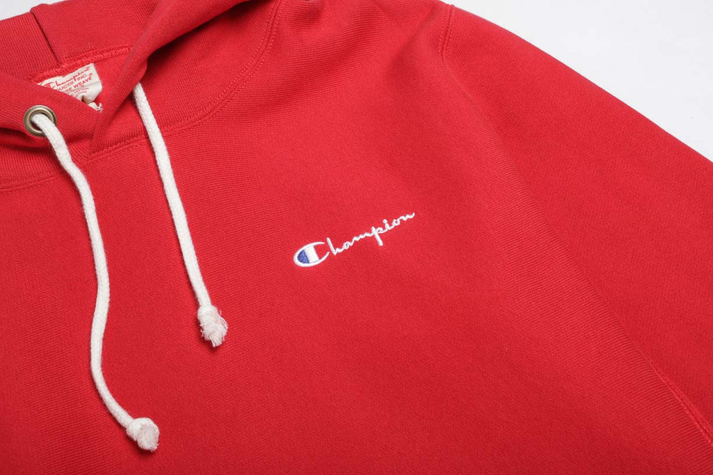 Champion Reverse Weave Small Script Logo Red Hoody