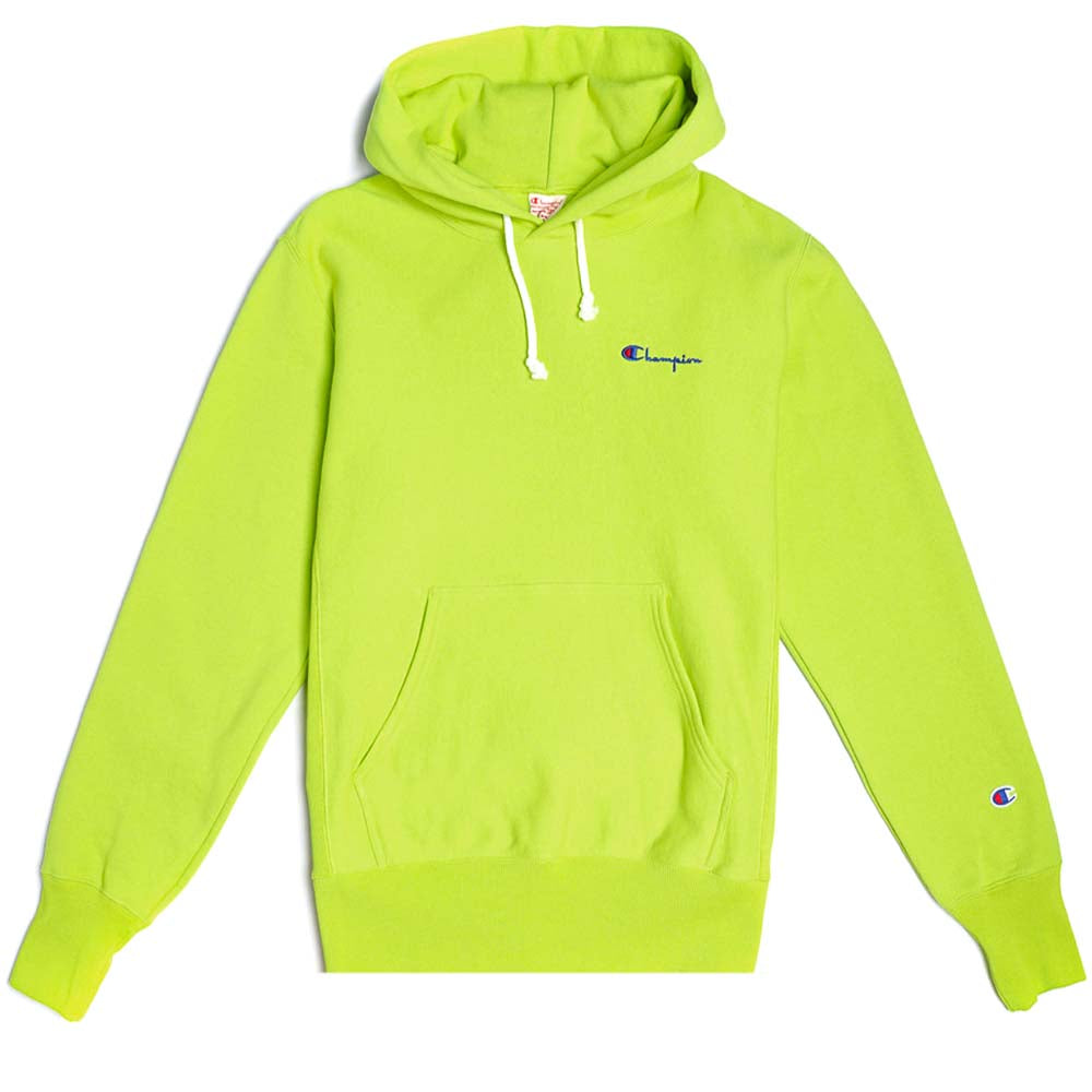 Champion Reverse Weave Small Script Logo Lime Hoody