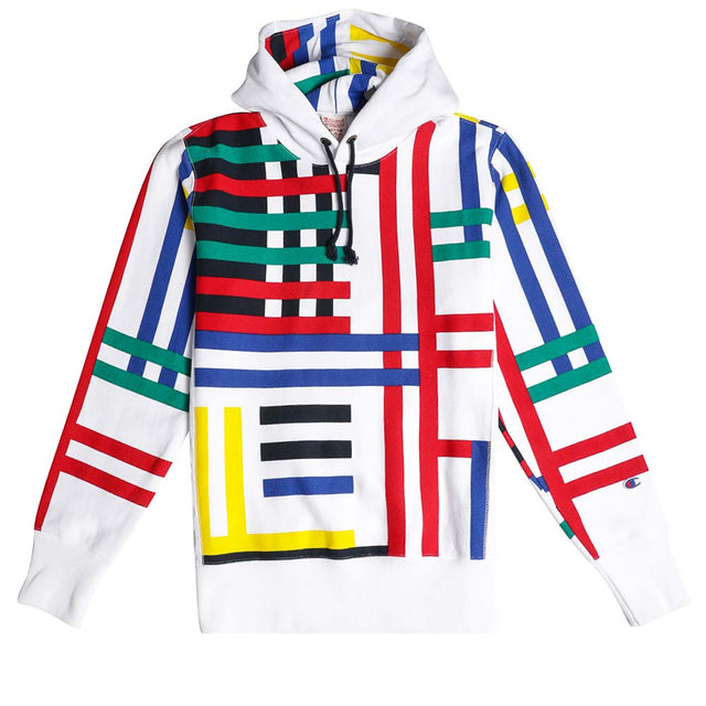 Champion Reverse Weave Graphic Stripe Hooded Sweatshirt