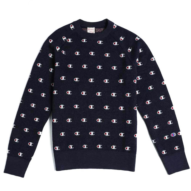 Champion Reverse Allover C Crewneck Sweater Navy