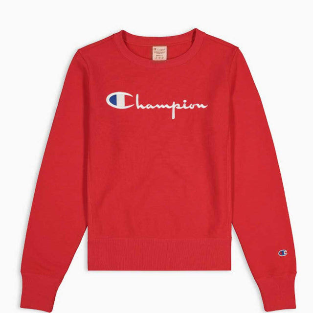 Champion Reverse Weave Script Logo Women's Crew Red