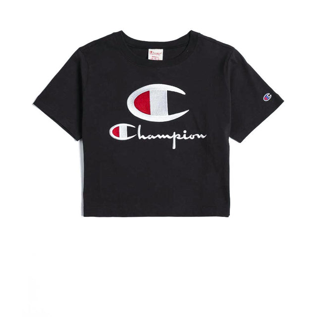 Champion Reverse Weave Crewneck Crop Top Black