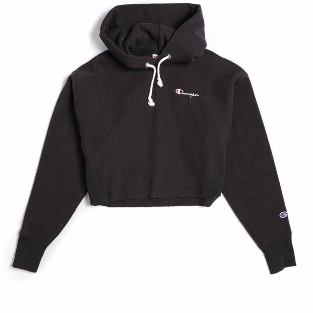 Champion Reverse Weave Small Script Logo Women's Cropped Hoodie Black 111561