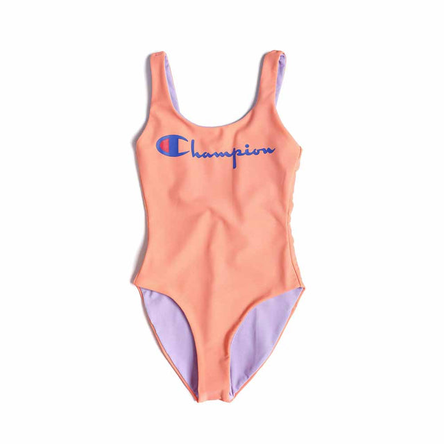 Champion Reversible Script Logo Scoop Back Peach Swimsuit 111602