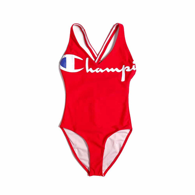 Champion Script Logo Cross Back Red Swimsuit 111174