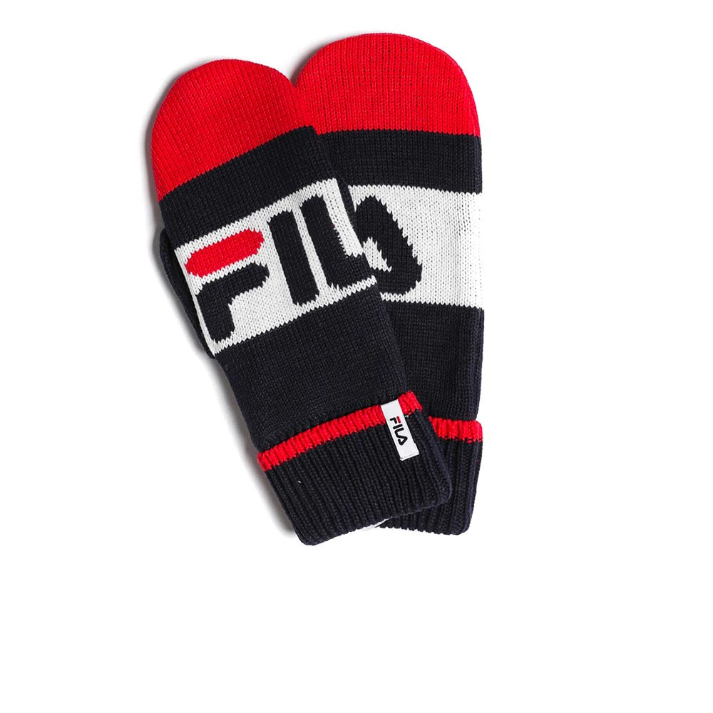 FILA Intarsia Knitted Mittents Black