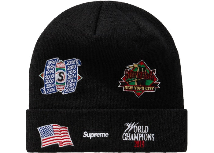 Supreme x New Era Championship Beanie Black