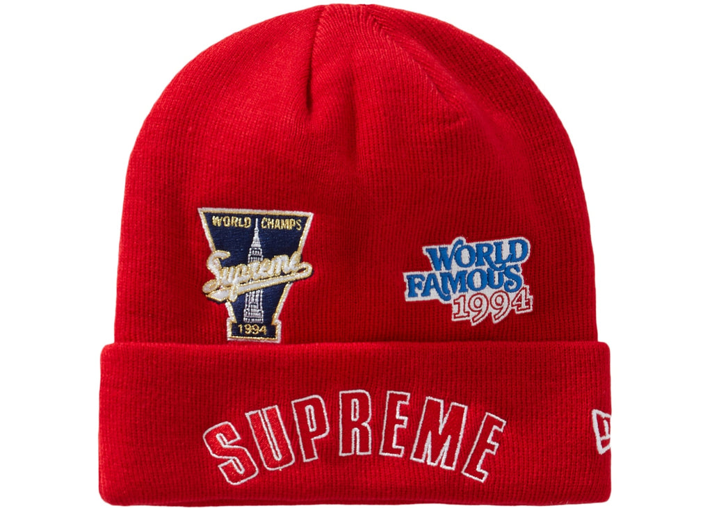 Supreme x New Era Championship Beanie Red