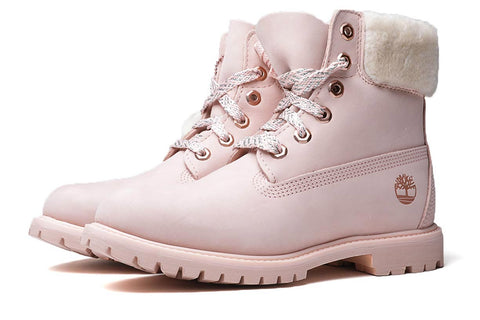 Timberland Women's 6-Inch Sherling Collar Premium Boots Light Pink
