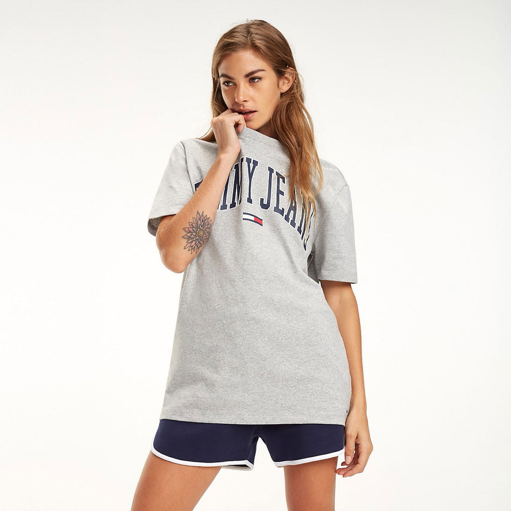 9a4559f5 Tommy Jeans Collegiate Oversized Logo Women's T-shirt Grey DW0DW05703