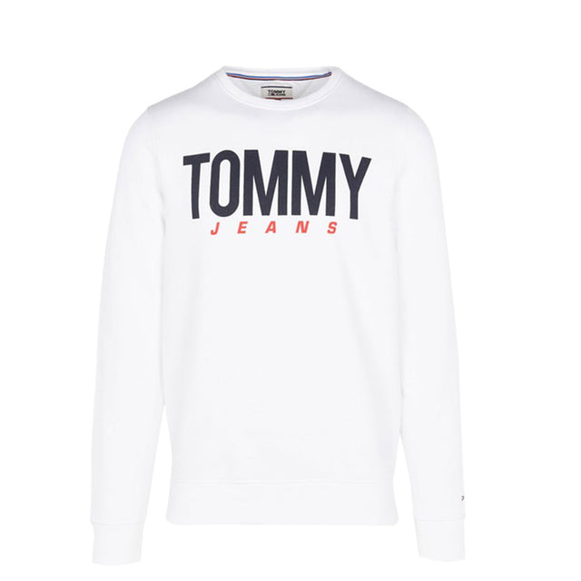 Tommy Jeans Essential Logo Crew Neck Sweatshirt White DM0DM06291