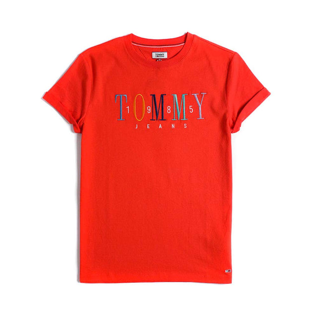 Tommy Jeans 1985 Embroidery Logo Women's T-shirt Red DW0DW06225