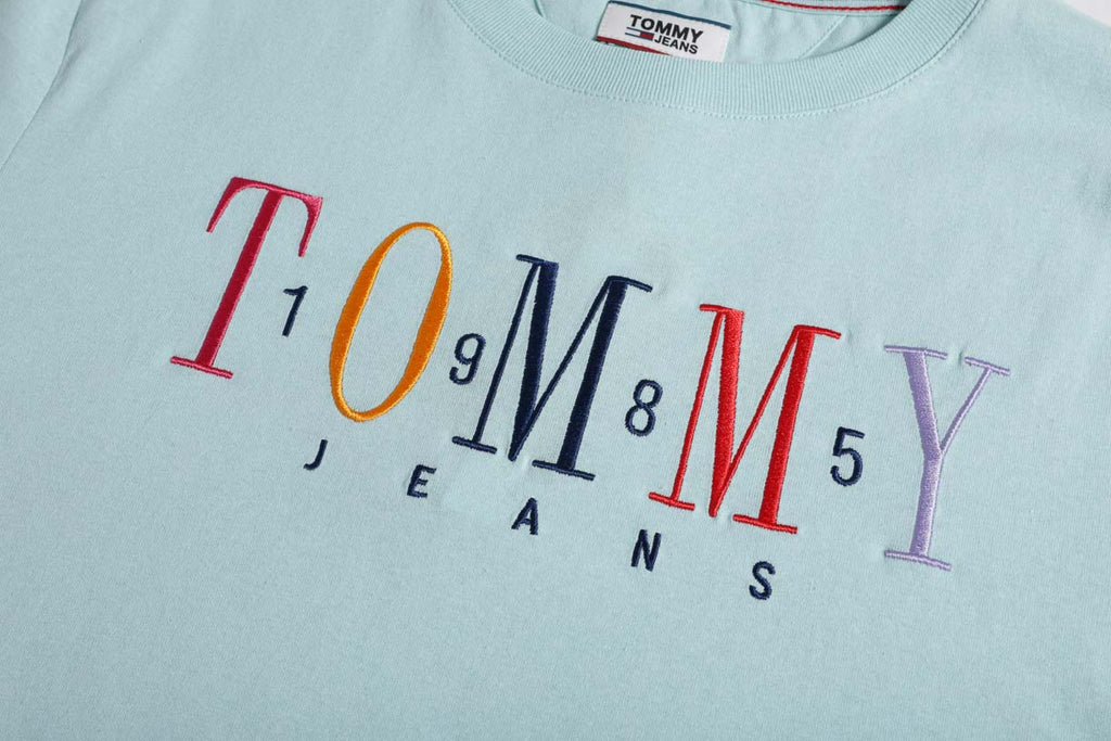 Tommy Jeans 1985 Embroidery Logo Women's T-shirt Canal Blue DW0DW06225