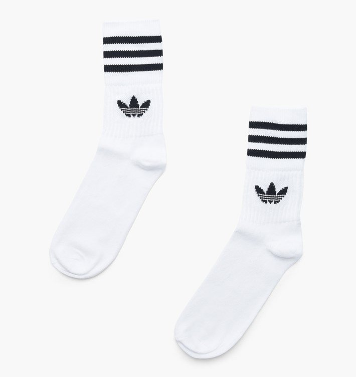 adidas Originals Solid Mid Cut Crew Socks WhiteBlack DX9091 35 38 White Cotton