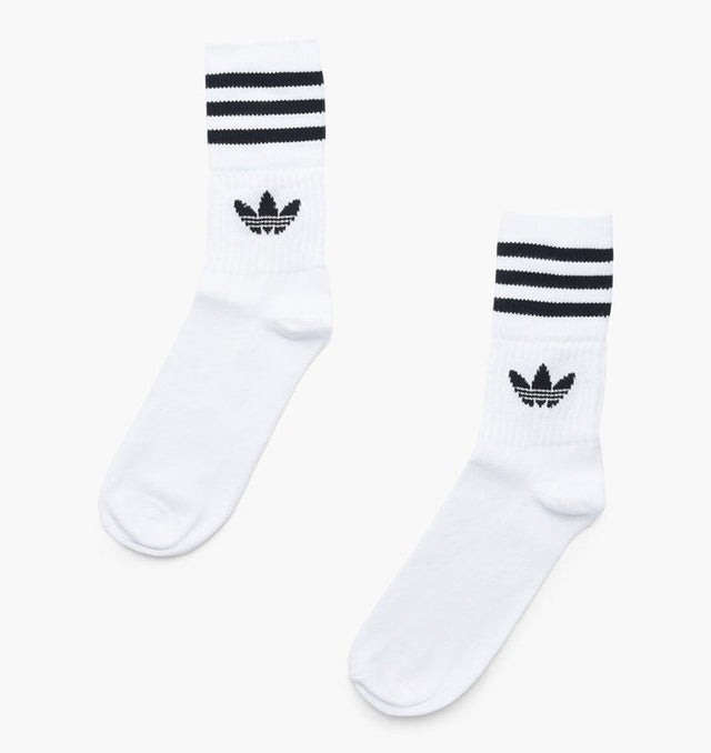 adidas Originals Solid Mid Cut Crew Socks White/Black DX9091