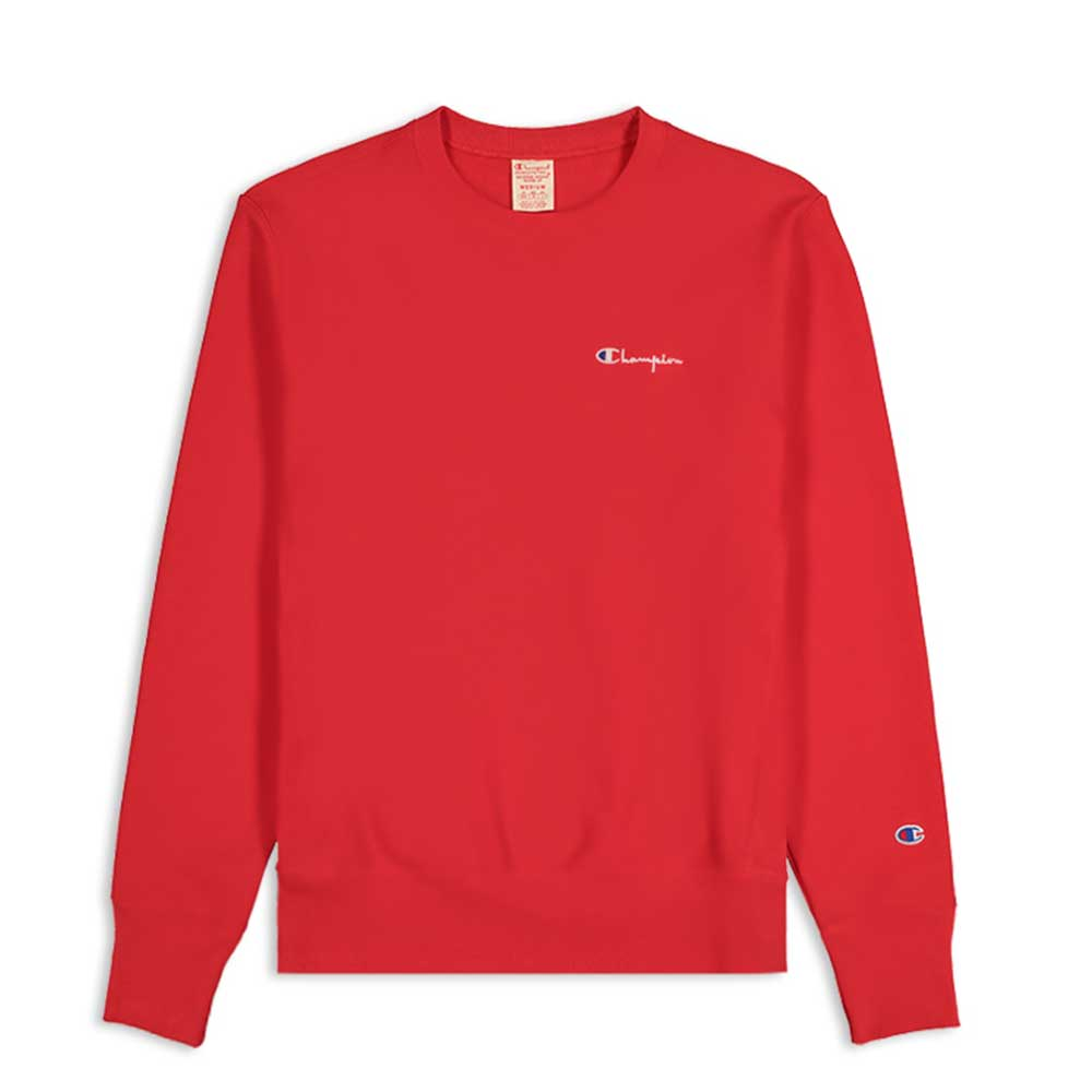 Champion Reverse Small Script Logo Crewneck Red