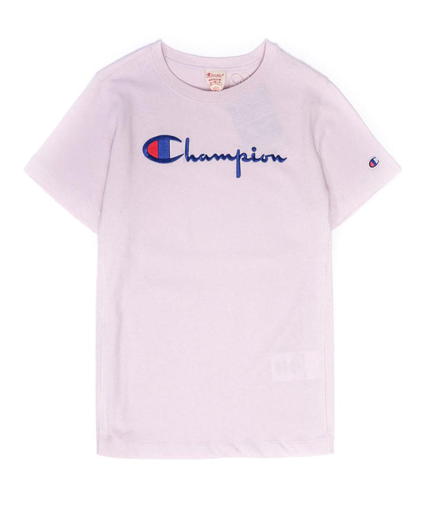 Champion Reverse Weave Script Logo Women's Tee Purple