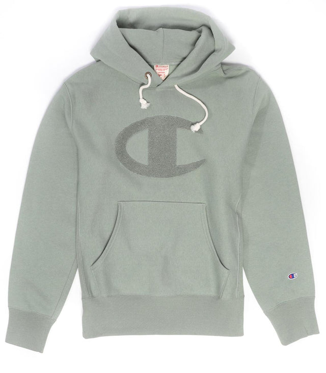 Champion Reverse Weave Big C Logo Hoodie Green