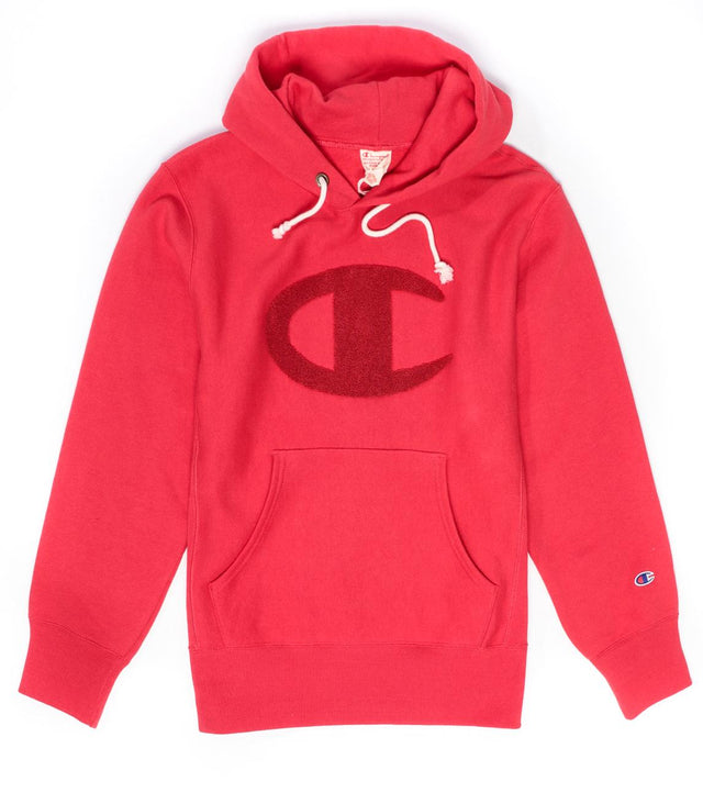 Champion Reverse Weave Big C Logo Hoodie Red