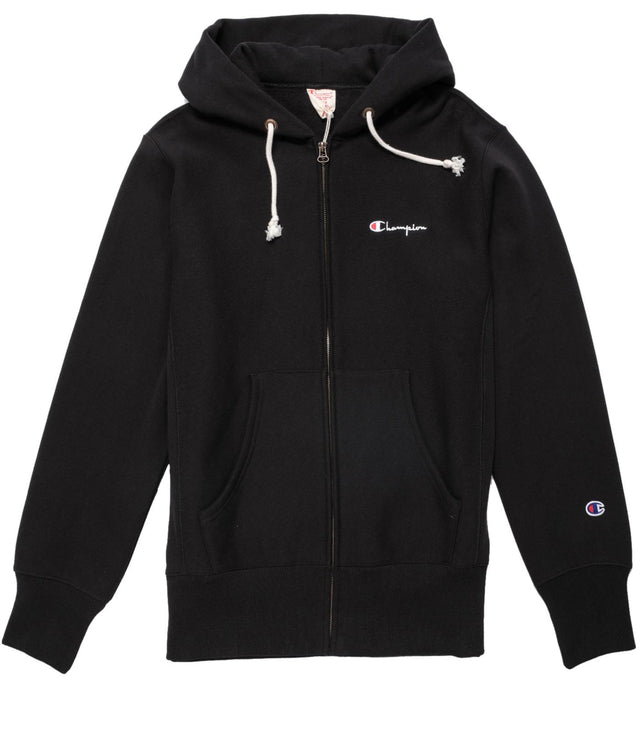 Champion Reverse Weave Small Script Logo Full Zip Hoodie Black