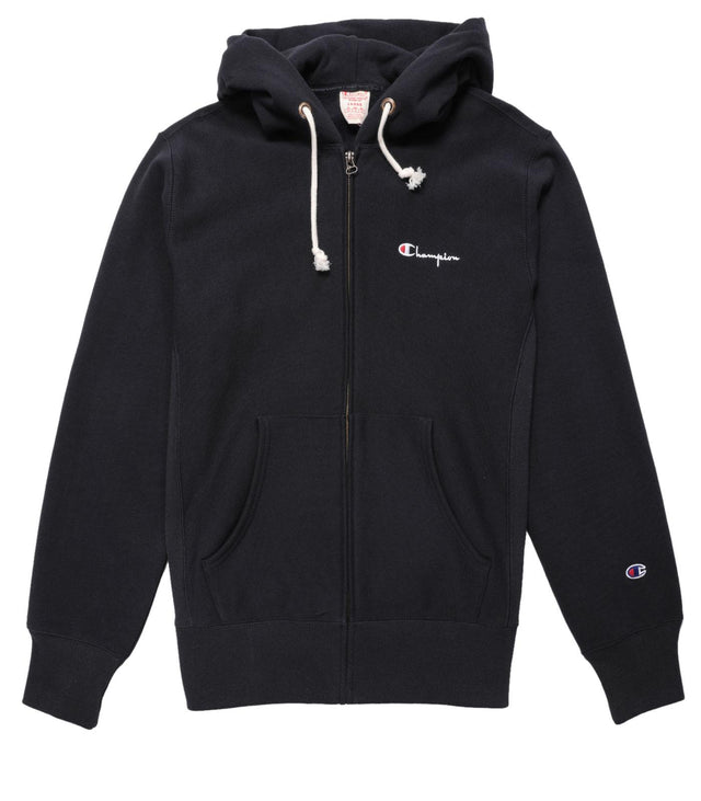 Champion Reverse Weave Small Script Logo Full Zip Hoodie Navy
