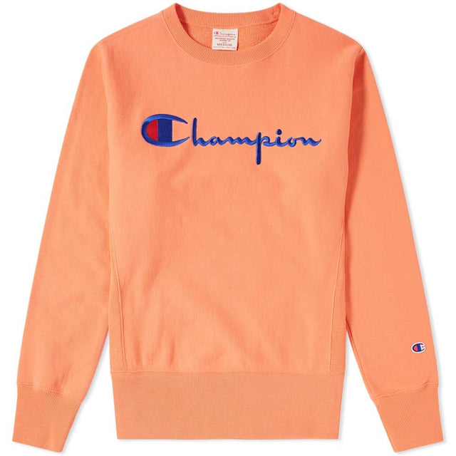 Champion Reverse Weave Script Logo Crewneck Sweatshirt Orange