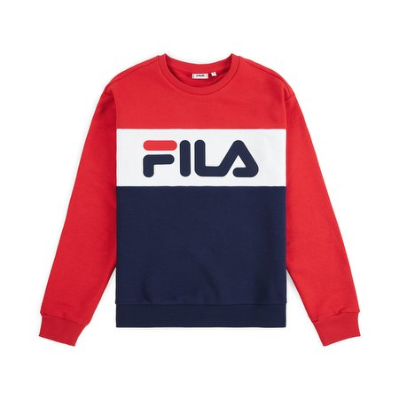 Fila Women' s Leah Crewneck Black Iris - True Red - Bright White