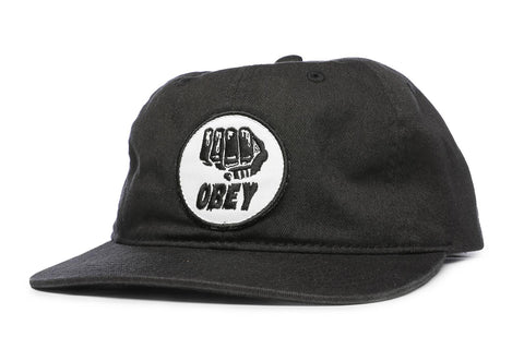 OBEY Fist 6 Panel Black Hat
