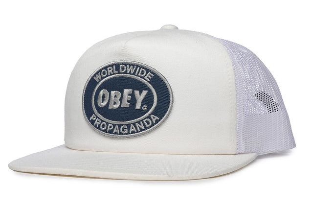 OBEY Oval Patch Trucker Cap White
