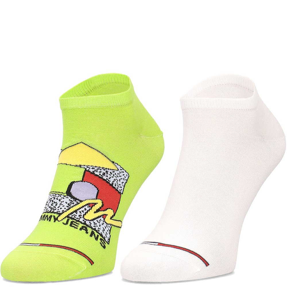 Tommy Jeans Old Skool Sneaker Socks Lime - 2 Pack