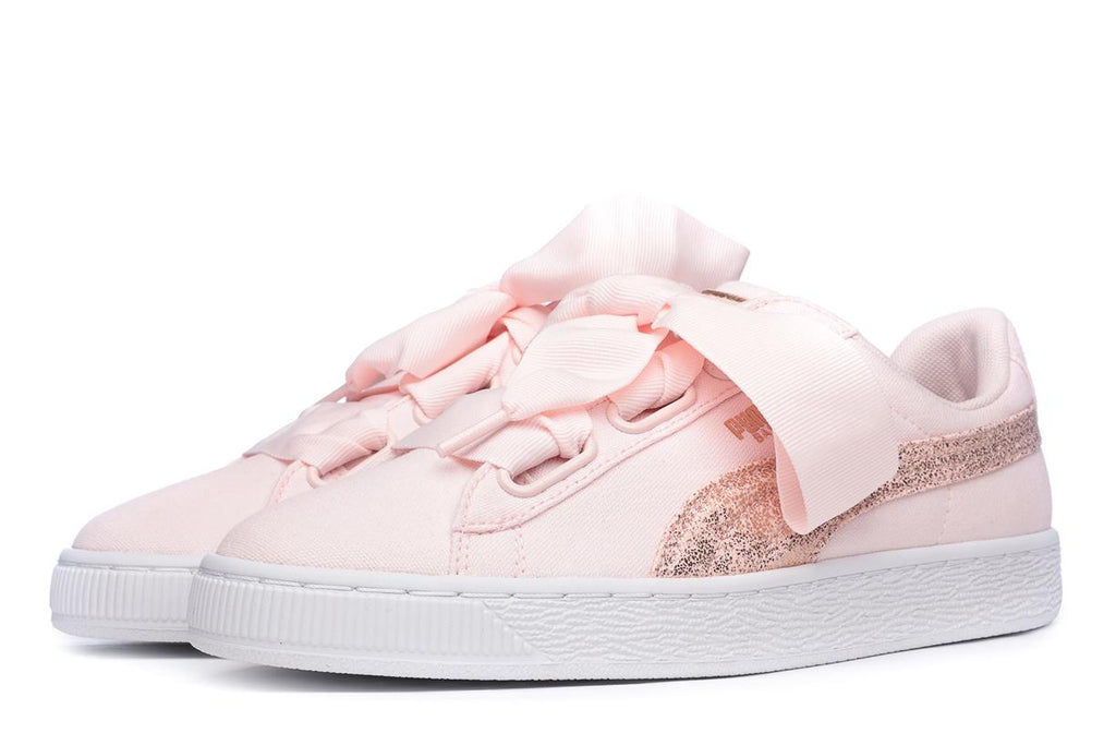 outlet store bc692 c03bb Puma Basket Heart Canvas Women's Trainers Pink - 40 / Pink / Textile