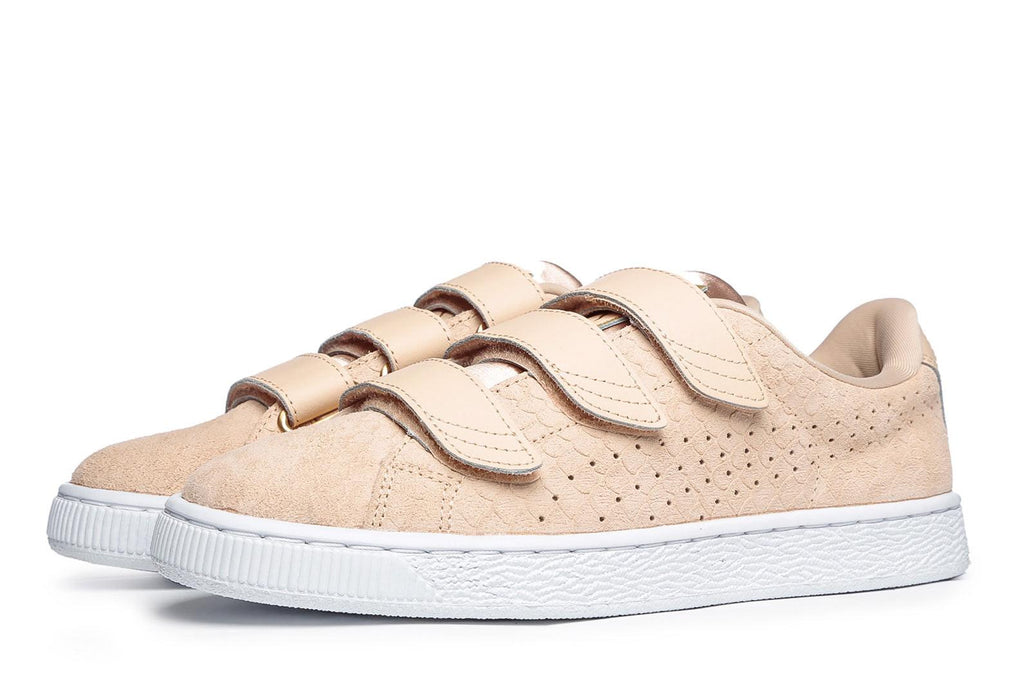 low priced 233e4 8f56a Puma Basket Strap Exotic Skin Natural Vache Trainers - 39 / Beige / Leather